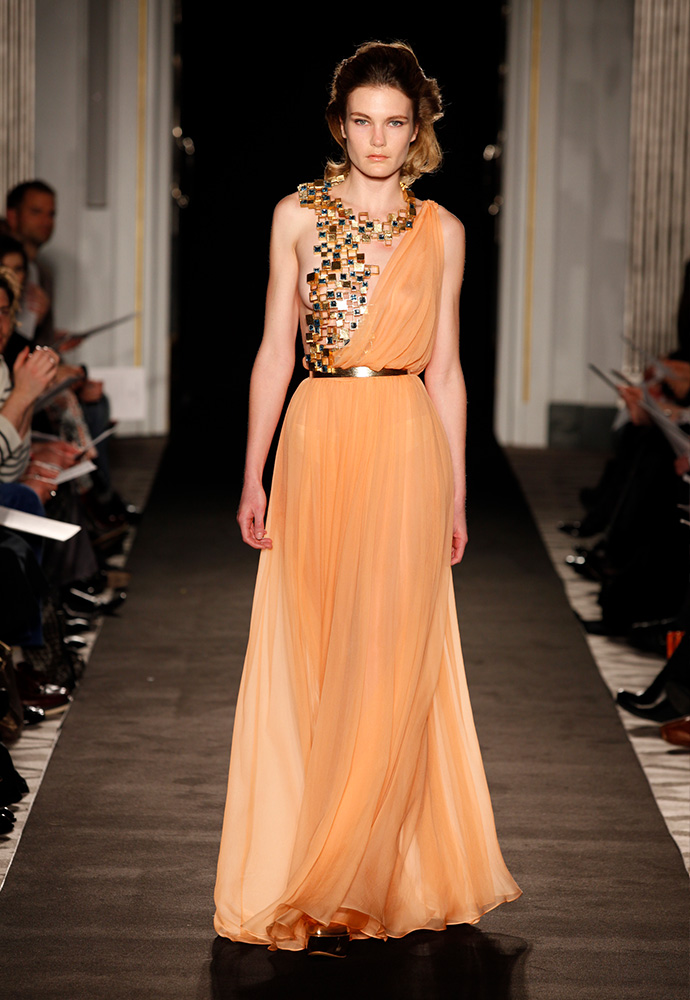 'Klimt' gown in chiffon with aquamarine jewelled bodice