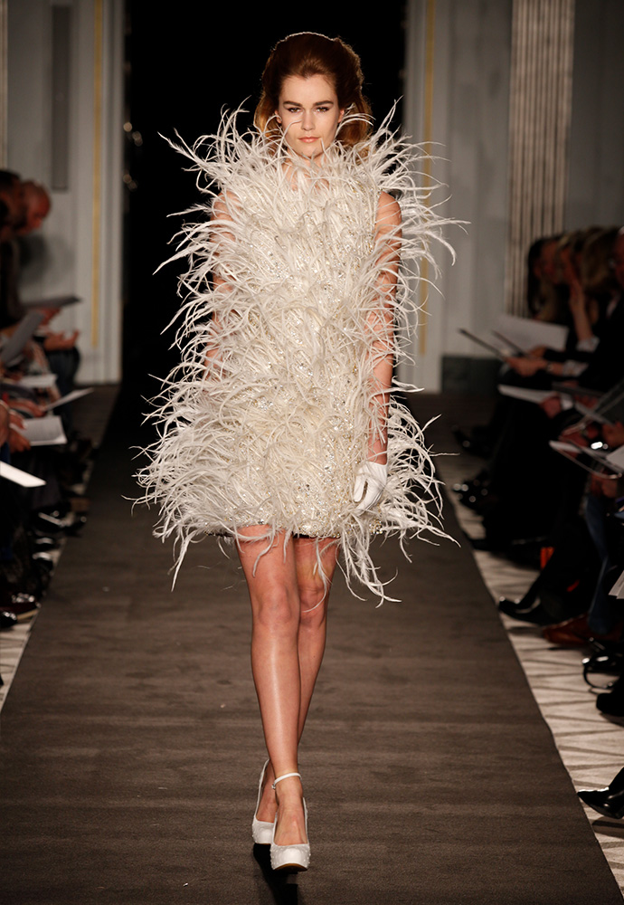 'Francesca' dress with feathers and crystals