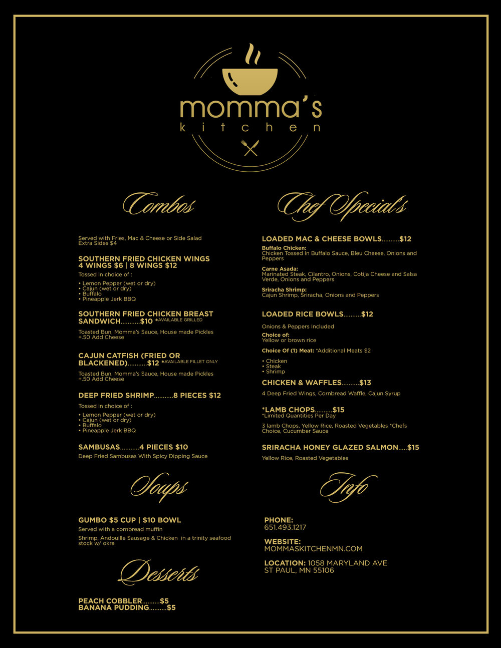 Our Weekly Menu, only available Tuesday - Saturday.