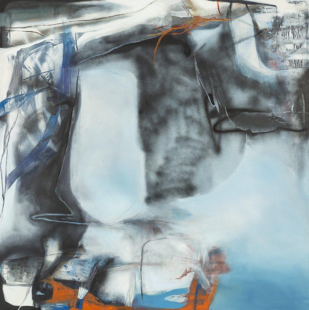 "Sara Pittman   ""THE SKY + THE ROAD""   2018 acrylic, oil, spray paint, charcoal, pastel on canvas 48"" x 48"""