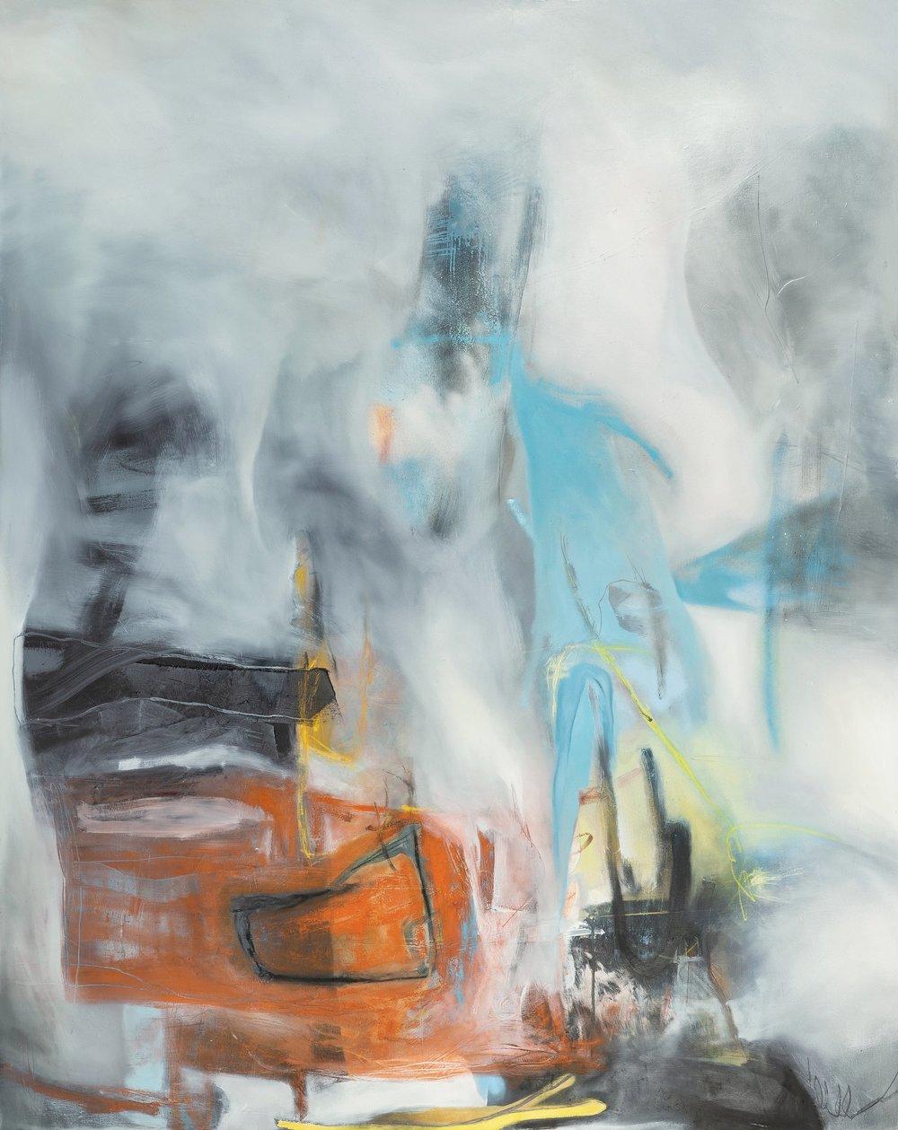 "Sara Pittman   ""THE WEIGHT OF IT ALL""   2018 Acrylic, oil, spray paint, pastel on canvas 48"" x 60"""