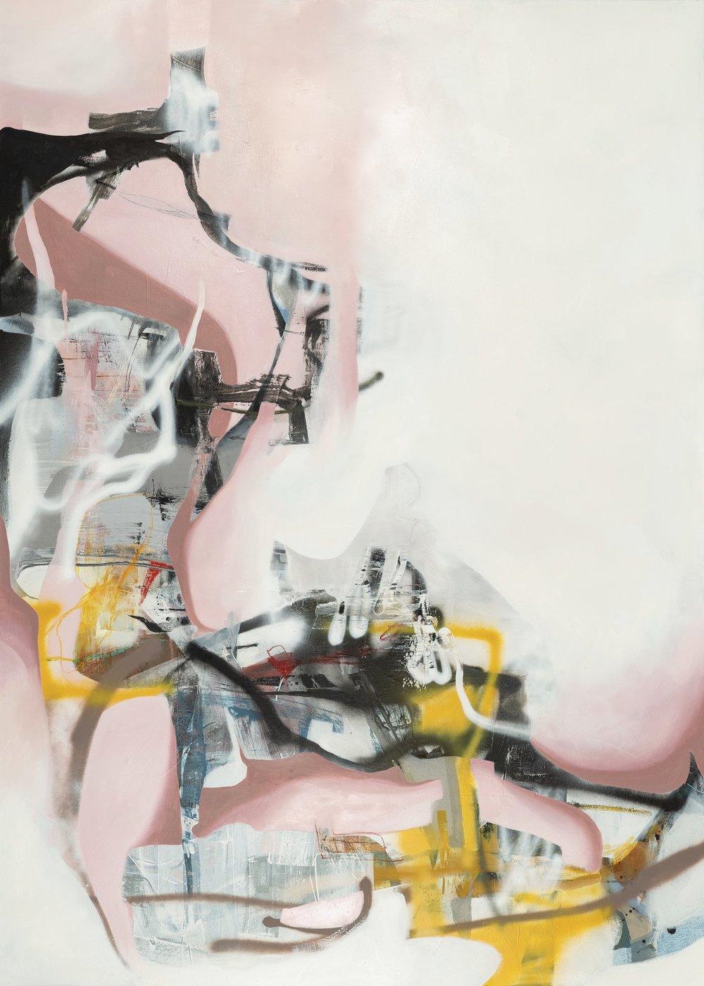 "Sara Pittman   ""SMOKE + MIRRORS""   2018 Acrylic, oil, spray paint, pastel, charcoal on canvas 60"" X 84"""