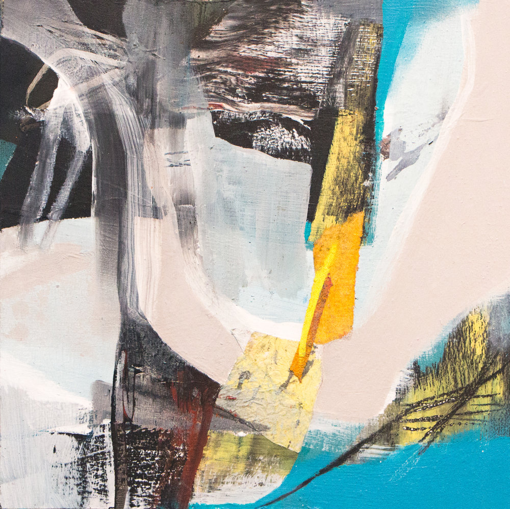 "Sara Pittman   ""BREEZE BLOCKS""   2018 Acrylic, oil, collage, pastel on wood panel 10"" x 10"""