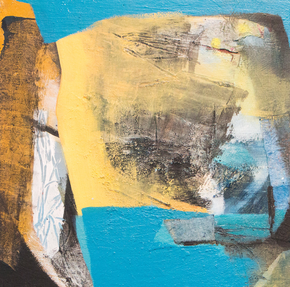"Sara Pittman   ""CITRINE""   2018 Acrylic, oil ,collage, and pastel on wood panel 10"" x 10"""