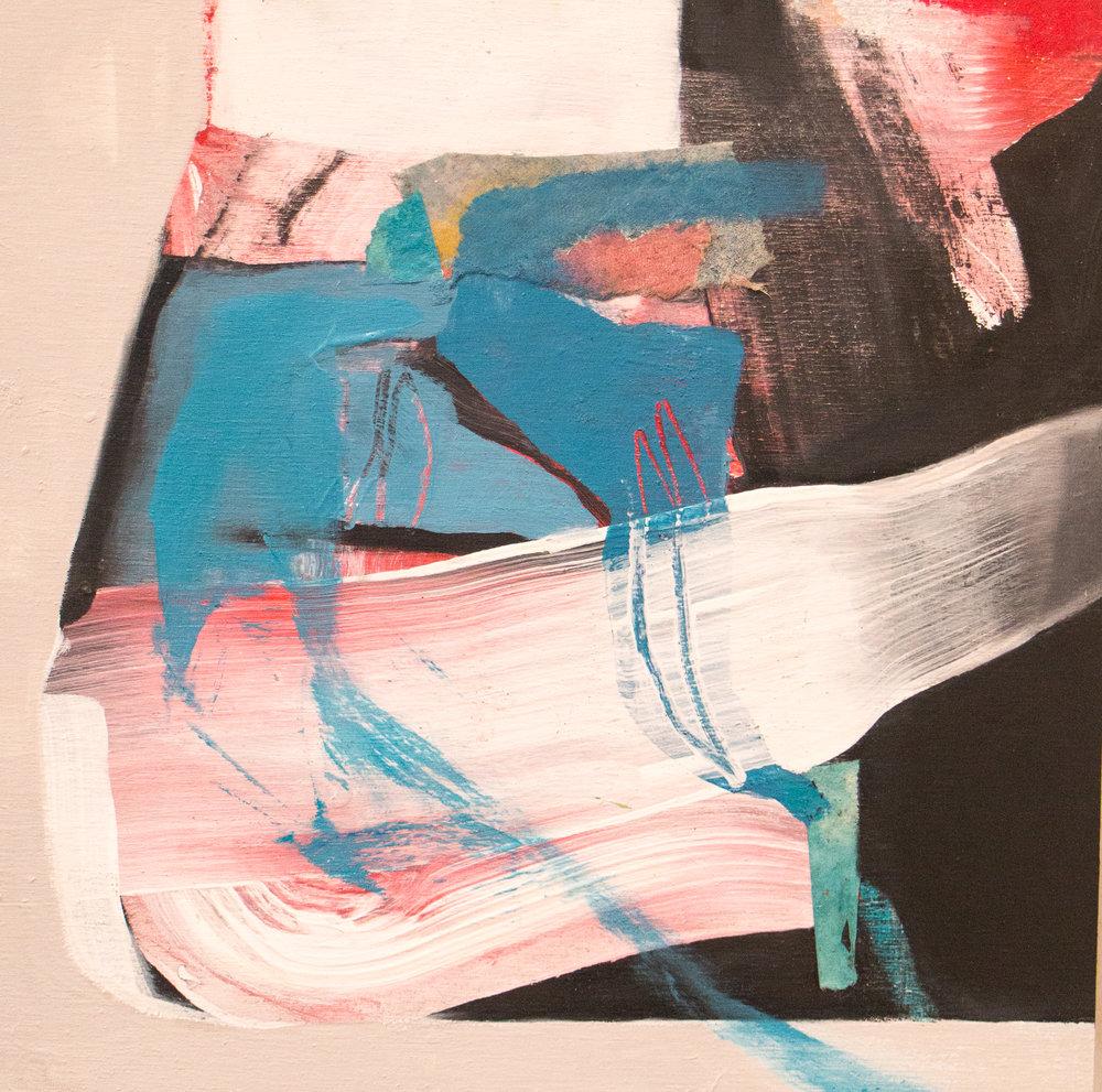 "Sara Pittman   '""UNFAMILIAR II""   2018 Acrylic, oil, pastel on wood panel 10"" x 10"""