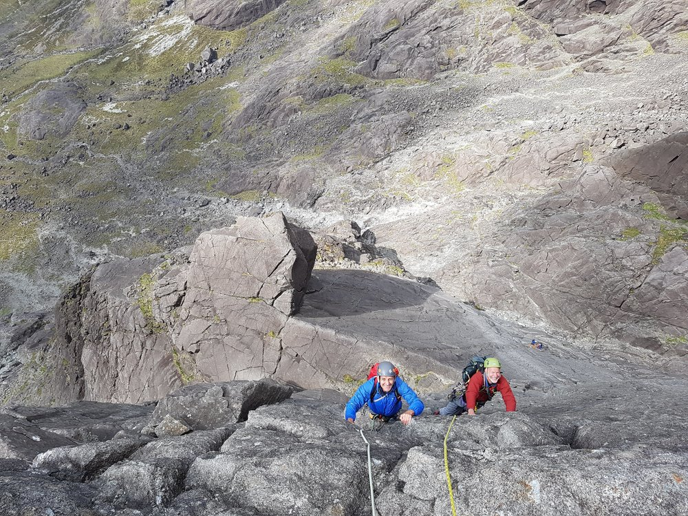 Sean & Roger climbing Integrity (VS) on the Isle of Skye