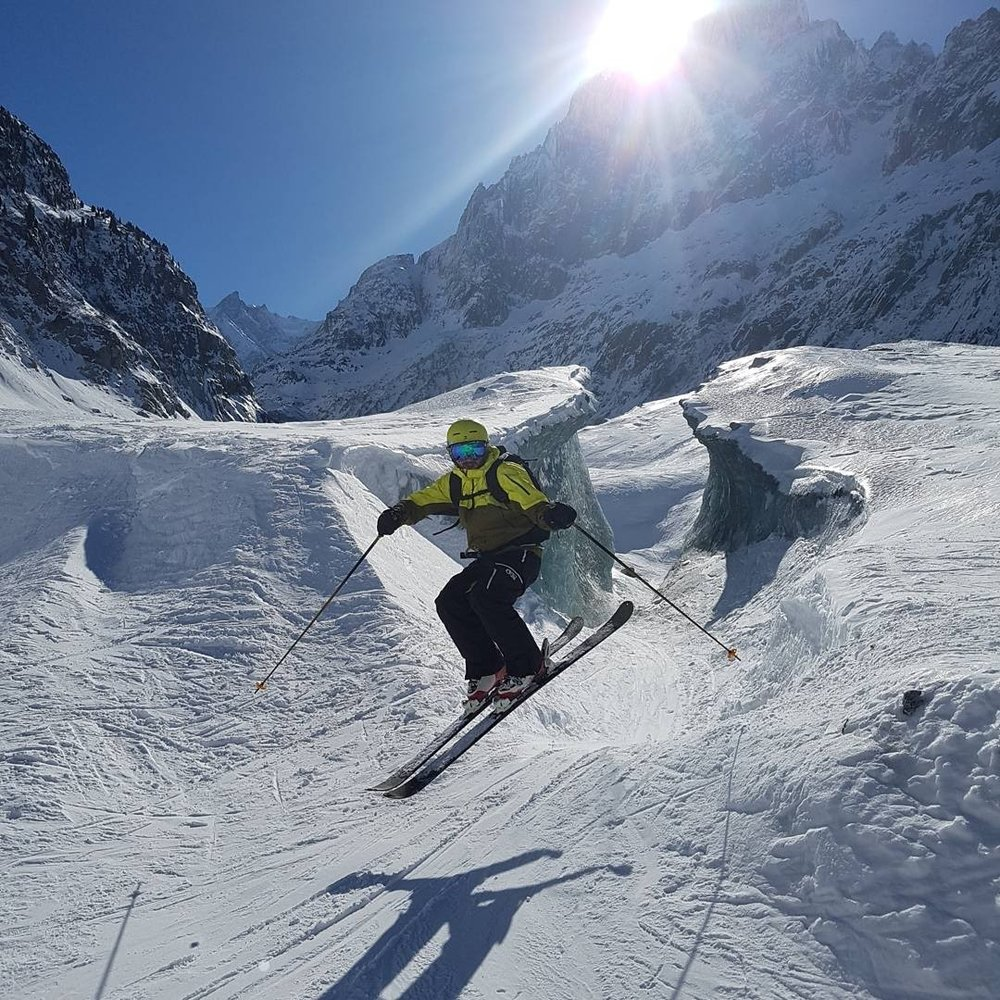 Finishing the Vallee Blanche in style!