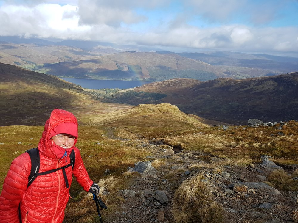 Very windy on Ben Vorlich above Loch Earn.  Happy to be in the hills despite a slight limp.