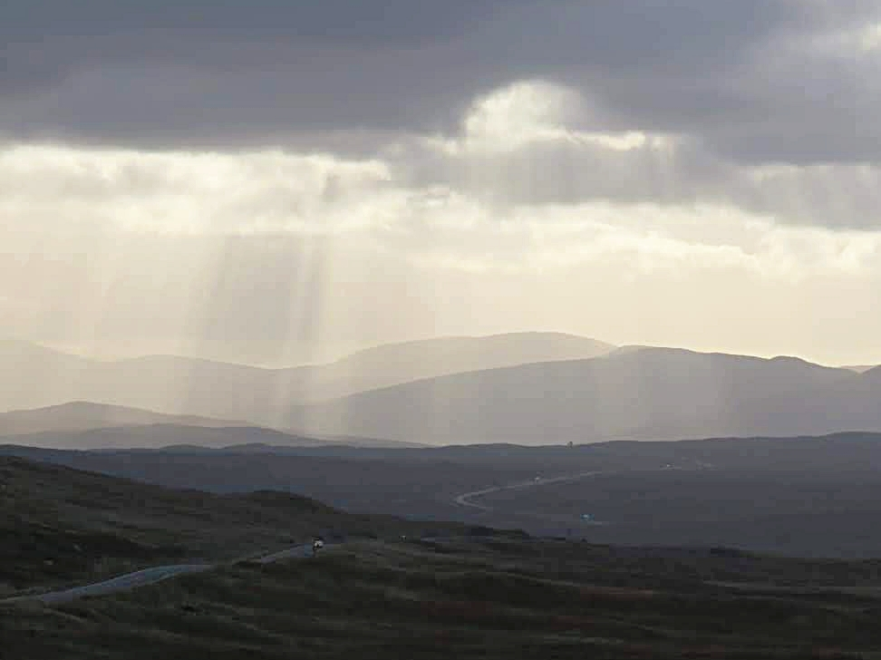 Rays of light on Rannoch Mor