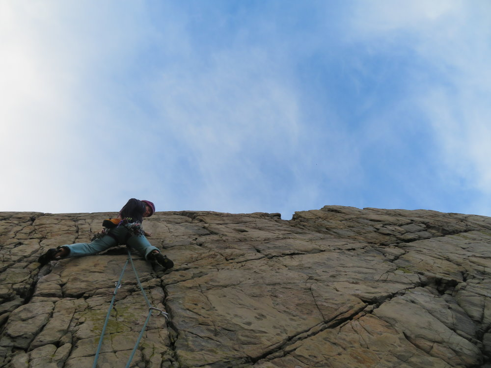 Rock climbing at Logie Head with Lou in November (it was after this day that we decided Spain would be a good idea….brrrrrr!)