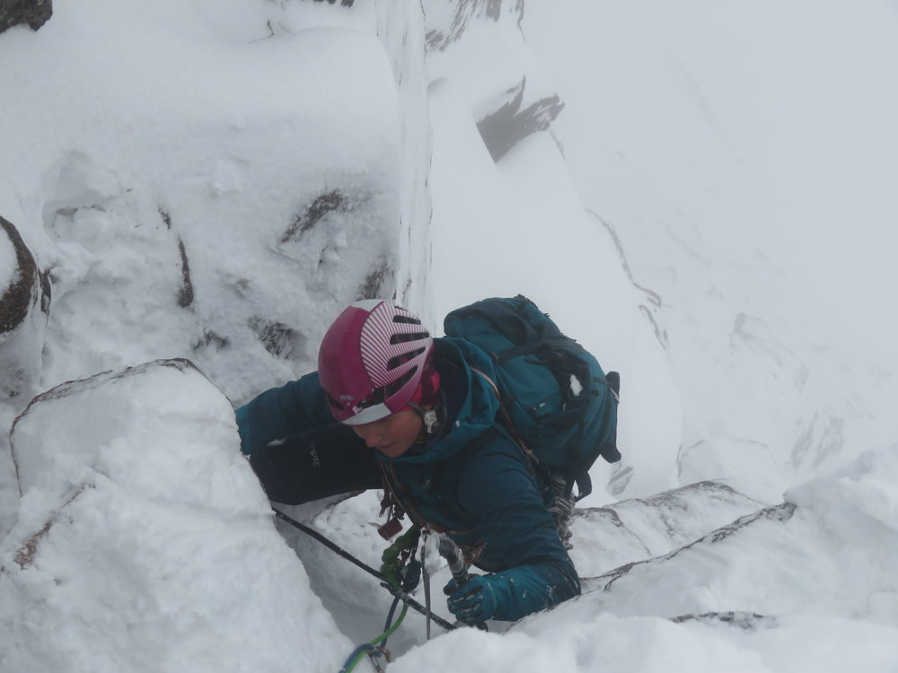 First day out winter climbing for Lou and I. We set off on the Message IV,6 in the Cairngorms. We had to clear a lot of snow that day!