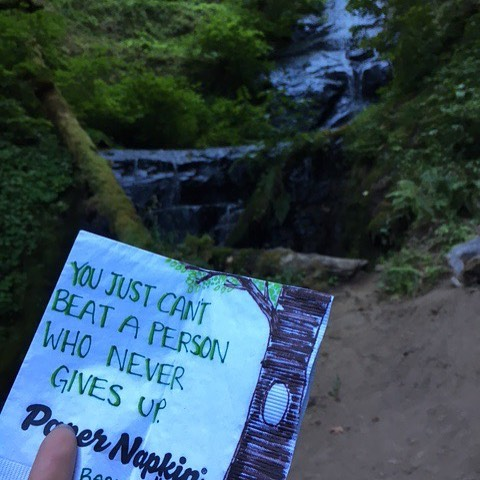 Never give up. Keep chasing those waterfalls. #papernapkinproject #chasingwaterfalls