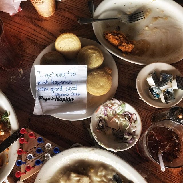 It seems quite clear that we were really happy when enjoying good food, much like Miss Olsen. #papernapkinproject #goodfood #foodie