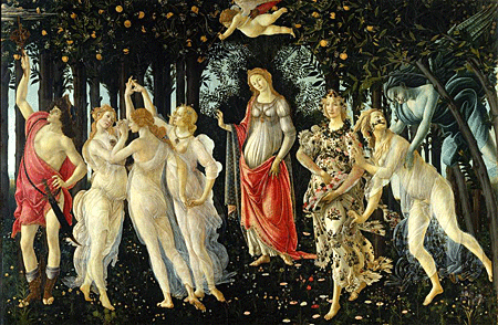 'Primavera' by Sandro Botticelli c1478 - On the far right of the painting we see Zephyrus, the west wind, pursuing a nymph named Chloris. After he succeeds in reaching her, Chloris transforms into Flora, goddess of spring. The transformation is indicated by the flowers coming out of Chloris's mouth. Flora scatters the flowers she gathered on her dress, symbolizing springtime and fertility.