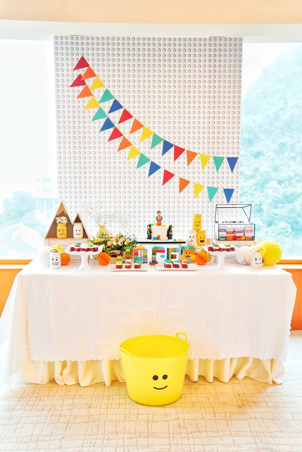 Eat, Sleep, Build, Repeat. - Jared loves Lego and we built this party especially with him in mind, from the colors to the cake and decor.