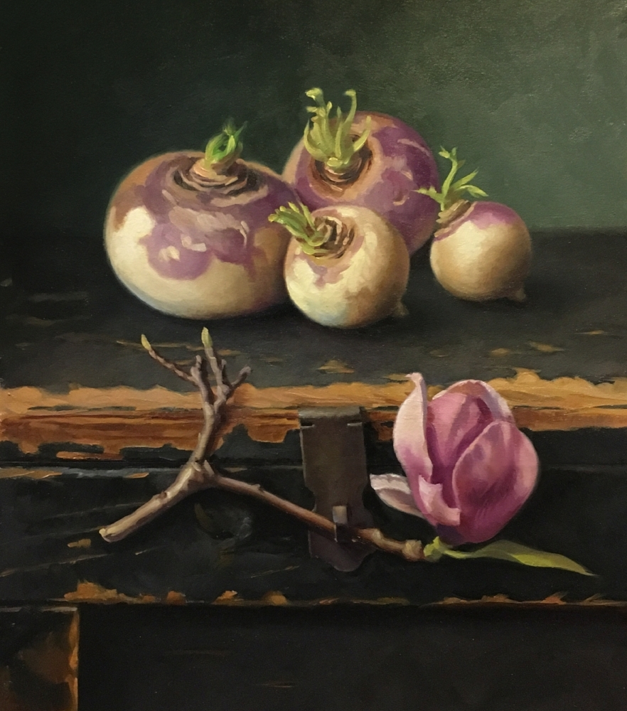 TURNIPS AND MAGNOLIA / 17 X 15 / OIL ON PANEL