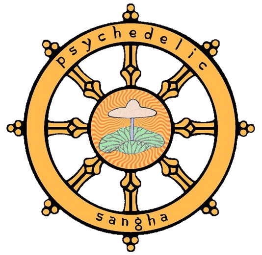 """Logo design by    Dr. Mike Crowley   .    The image at the center of the Dharmachakra (dharma wheel) is taken from the Chojo Mandara Scroll, a Japanese work from the 9th century. It said to be a parasol and is the """"ayutana"""" (symbolic form) of Ganapati, as used in a """"citta mandala"""". In Sanskrit, however, the word """"chattra"""" means both parasol and mushroom. Crowley contends that this is intended to be a visual pun. Based on the prominent umbo (the bump on some mushroom caps), Crowley believes that this represents Psilocybe liniformans, a potently psychedelic mushroom found in Japan and Northern China."""