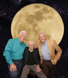 Over the Moon. - Gene Cernan, last man on the moon; Neil Armstrong, first man on the moon; and Bob Hoover, one of the most accomplished pilots who ever lived. Photo: Paul Bowen.