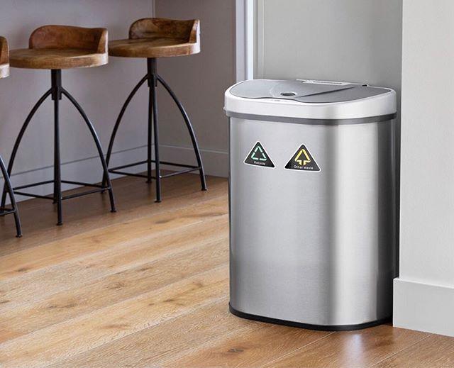 Our spacious, dual compartment sensor bin will bring you a greener, hassle free kitchen and make everyday chores fun again! #ninestars #sensorbin
