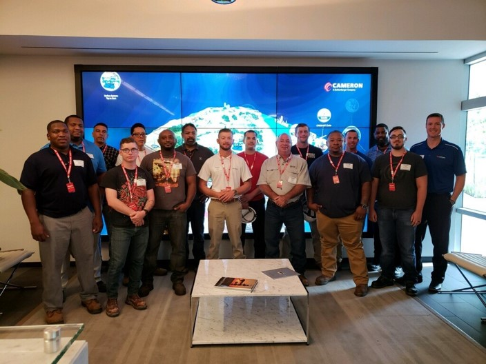 Above:Military Recruiting Team at Cameron, a Schlumberger Company, stands with a group of Military Hiring Event attendees. Of the 14 who attended this event, 12 were hired on the spot.  Below: Want an exciting career post Military Service? Check out this video…