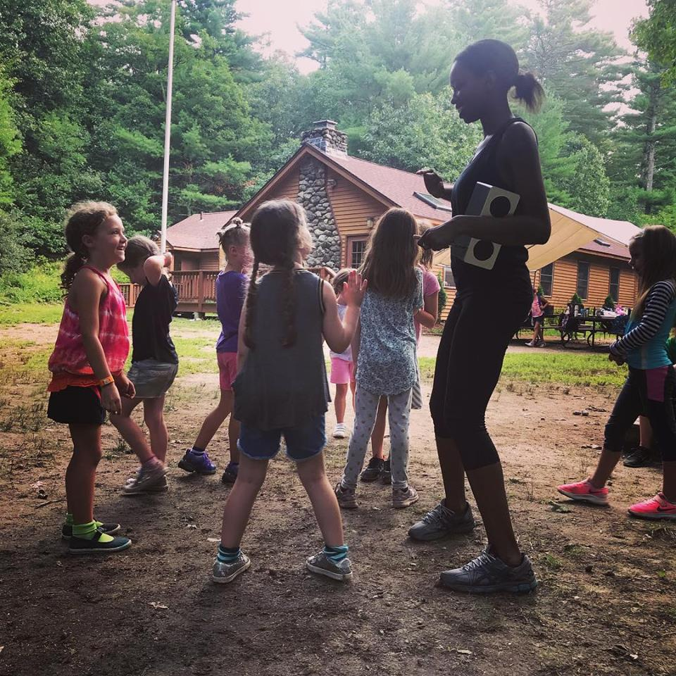 Teaching girl scouts how to dance
