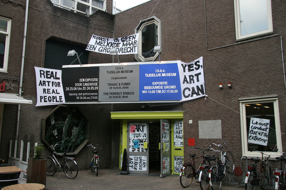 Brakke Grond, facade with banners of Temporary Museum Amsterdam