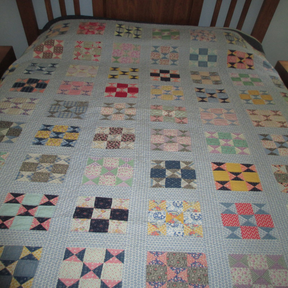 Blue Scrap Nine Patch quilt  SOLD