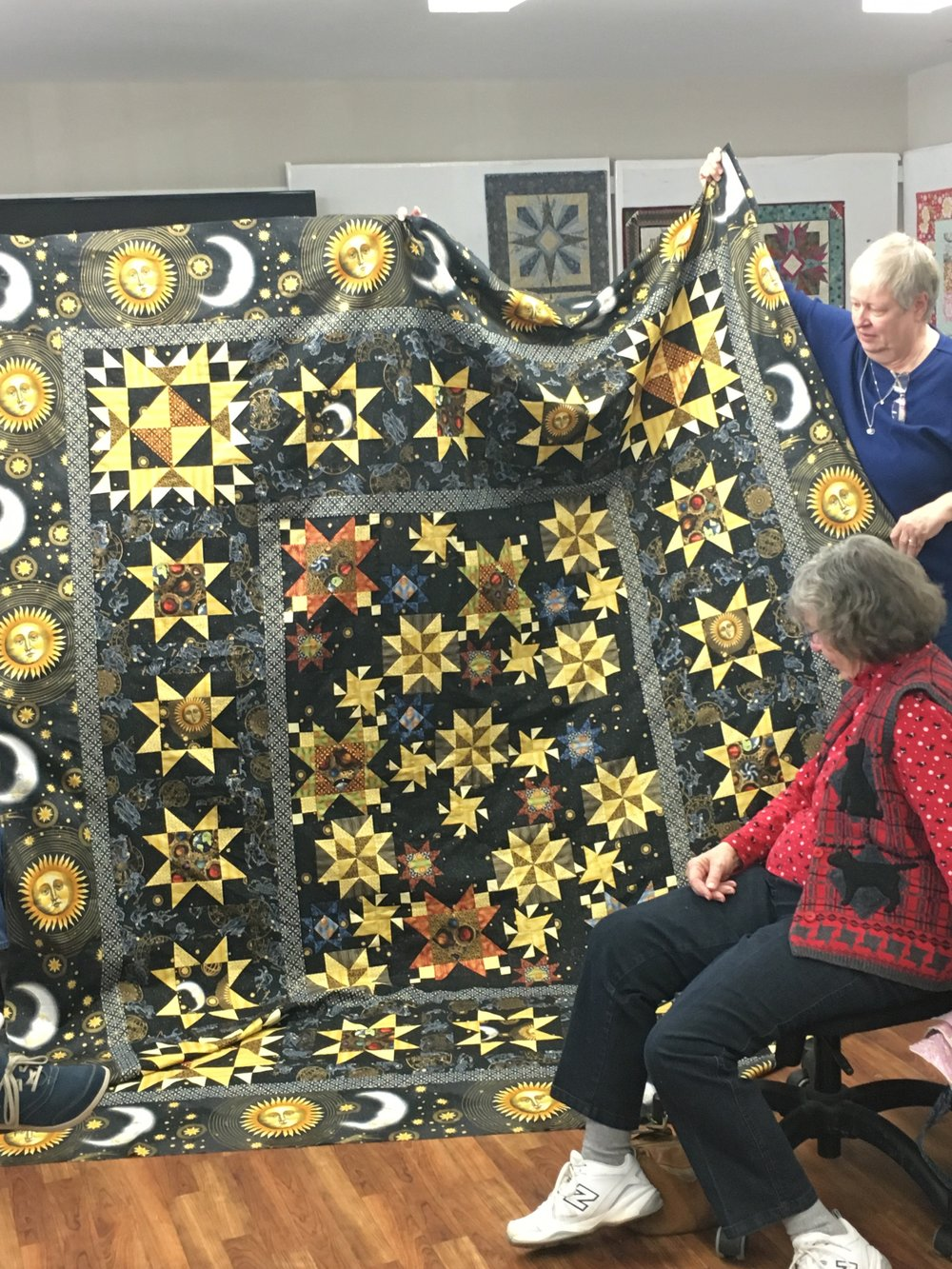 What a beautiful top about to go on the long arm machine with MaryAnn quilting. A star quilt for a special son.