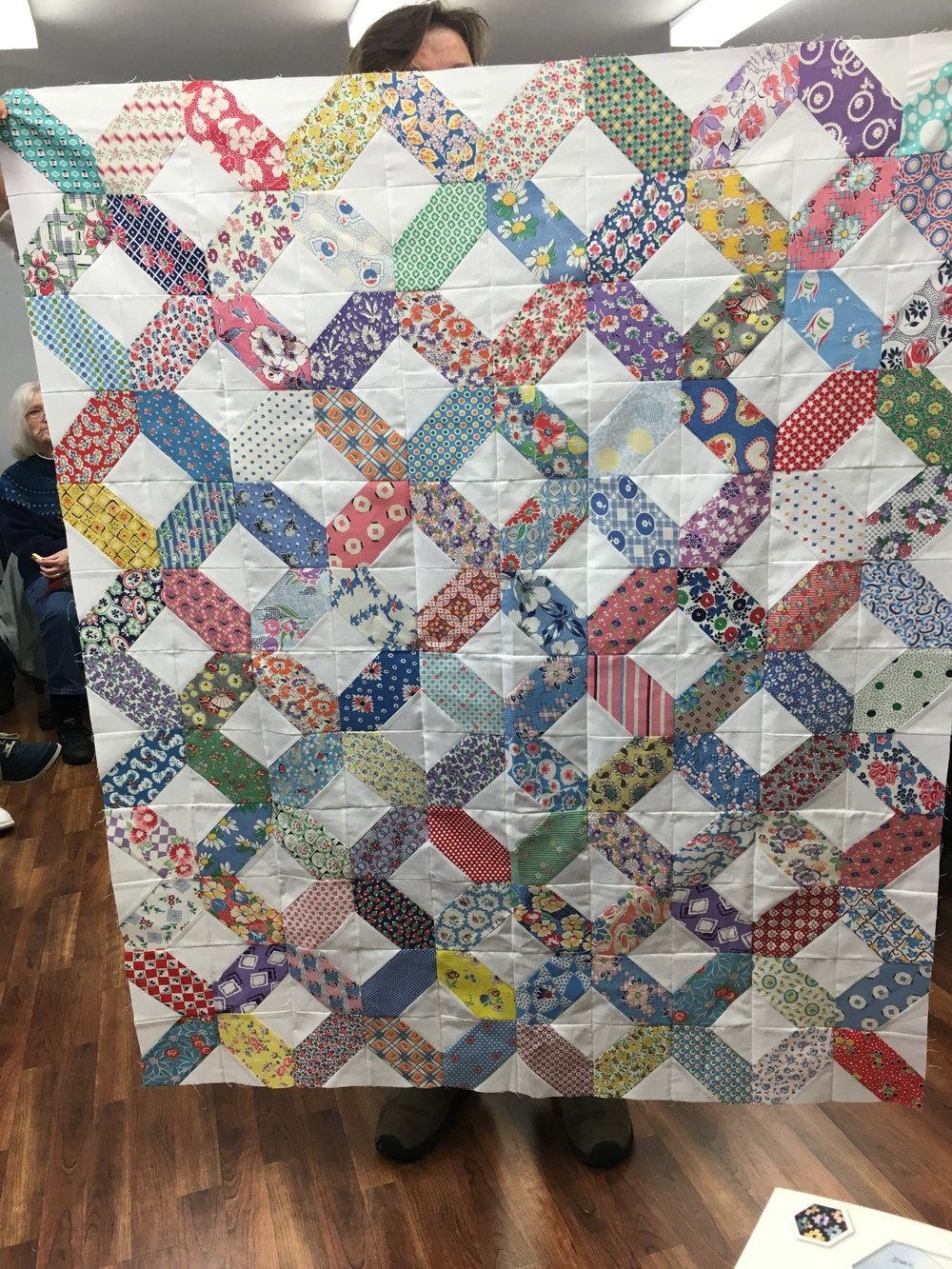 Connie always steals the show with her scrap quilts. A Feed sacks wonder.