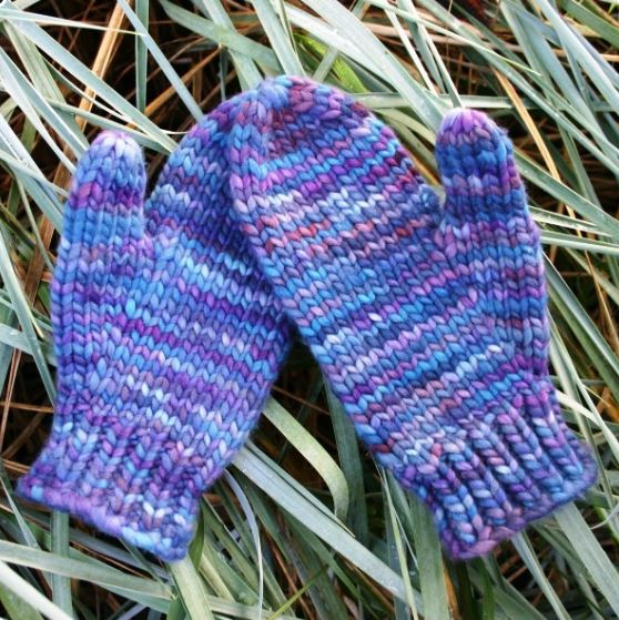 """Mittens in a Blink"", a free knitting pattern for super-quick, super-cozy ladies' mittens knit in super-bulky wool yarn. - Click on the image to see the pattern. Save the pdf to your device. Copyright Mary Ann Stephens. For personal use only. Do not distribute."