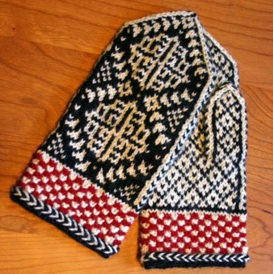 """Chrysanthemum Mittens"", a free knitting pattern for ladies' traditional Norwegian mittens with non-traditional flair. - Click on the image to see the pattern. Save the pdf to your device. Copyright Mary Ann Stephens. For personal use only. Do not distribute."