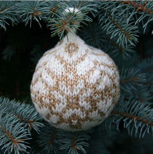 """Star of Bethlehem Christmas Ball"", a free knitting pattern for your Christmas tree. - Click on the image to see the pattern. Save the pdf to your device. Copyright Mary Ann Stephens. For personal use only. Do not distribute."