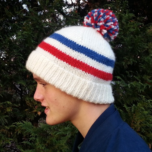 "Free knitting pattern for the classic ""Sports Fan Hat"". - Click on the image to see the pattern. Save the pdf to your device. Copyright Mary Ann Stephens. For personal use only. Do not distribute."