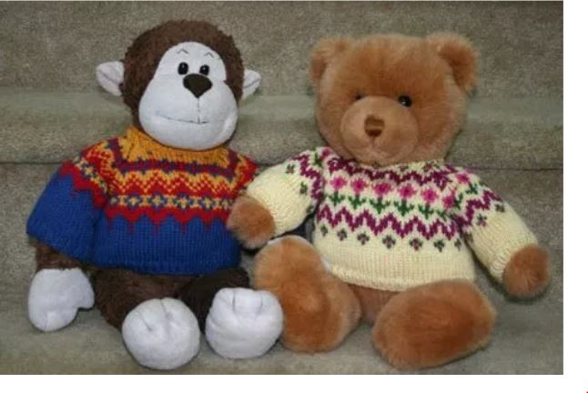 """Monkster Gets Stranded"", a free knitting pattern for Fair Isle / stranded teddy bear sweaters. - Click on the image to see the pattern. Save the pdf to your device. Copyright Mary Ann Stephens. For personal use only. Do not distribute."