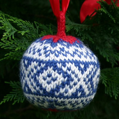 """Christmas Balls"" collection - Marius Ball, one of three knitted Christmas ornaments included in this knitting pattern pdf. - Click on the image to see the pattern. Save the pdf to your device. Copyright Mary Ann Stephens. For personal use only. Do not distribute."