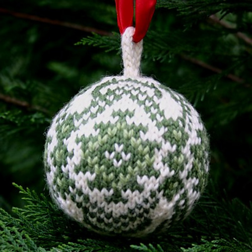 """Christmas Balls"" collection - Kilim Ball, one of three knitted Christmas ornaments included in this knitting pattern pdf. - ""Christmas Balls"" collection - Marius Ball, one of three knitted Christmas ornaments included in this knitting pattern pdf."