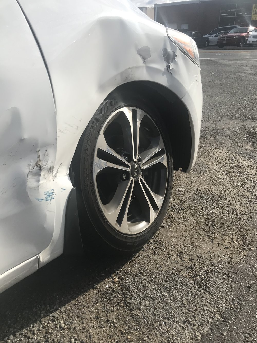 Since the wheel caved in, I was unable to drive my car