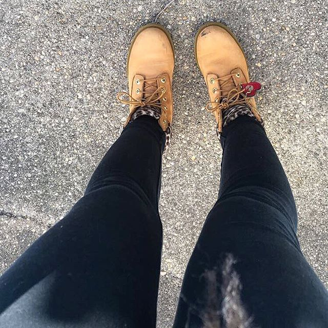 Am I showing off my shoes? My legs? Nope, I originally took this picture because I liked how the ground looked. Yes that's the reason I posted this 😂 It's technically spring but feels like winter out so I figured I'd post a winter shot #flashback #timberlandboots #concretedesign #winteroutfit #randomshots #photobombed
