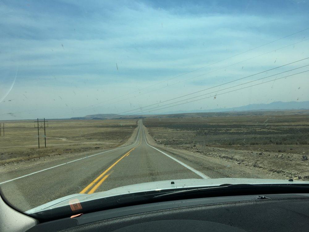An open, empty road in Idaho