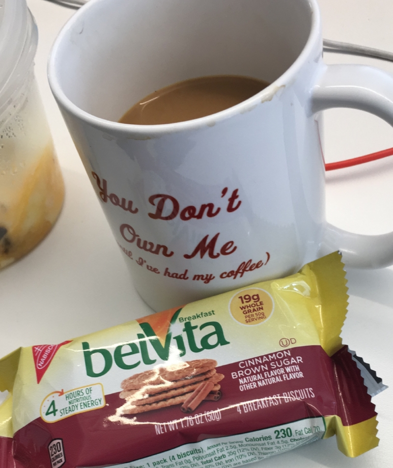 My new morning tradition of coffee and Belvitas