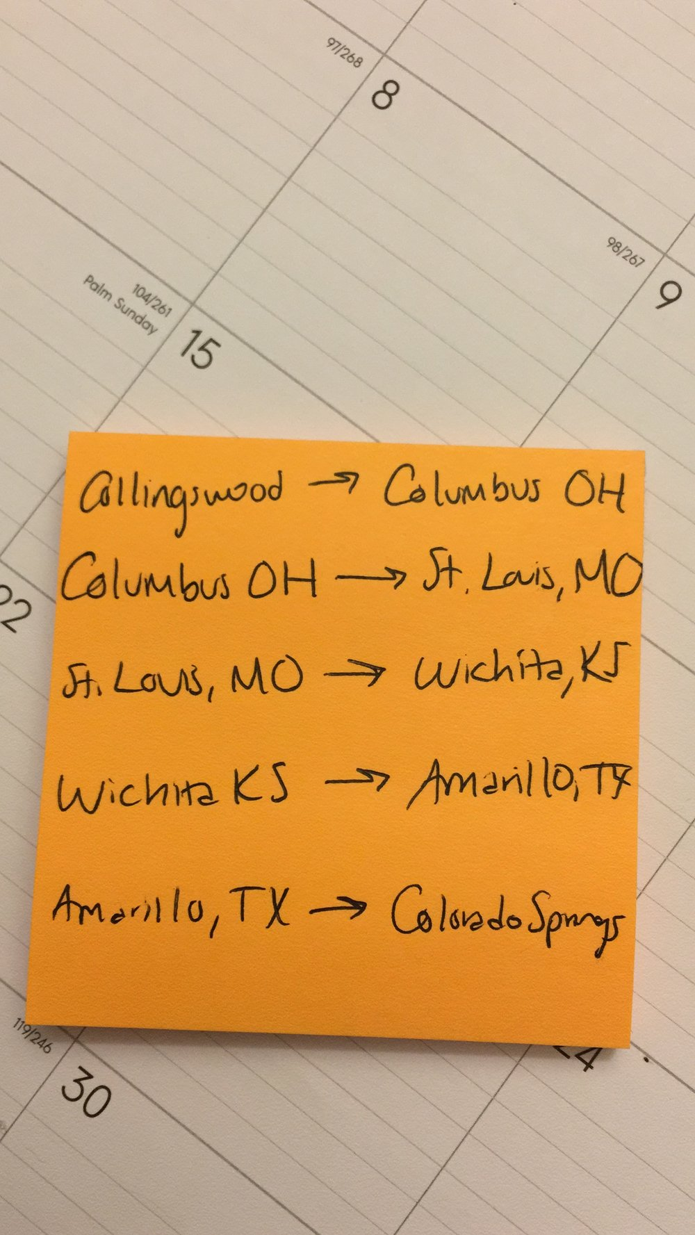 The outline of a potential road trip