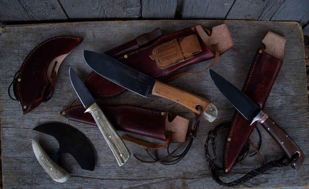 Custom Handmade Hunting Knife Set.