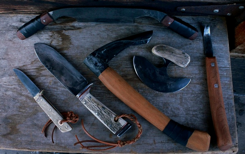 A Custom handmade bush set of tools to hunt, carve, setting up camp and survive with.