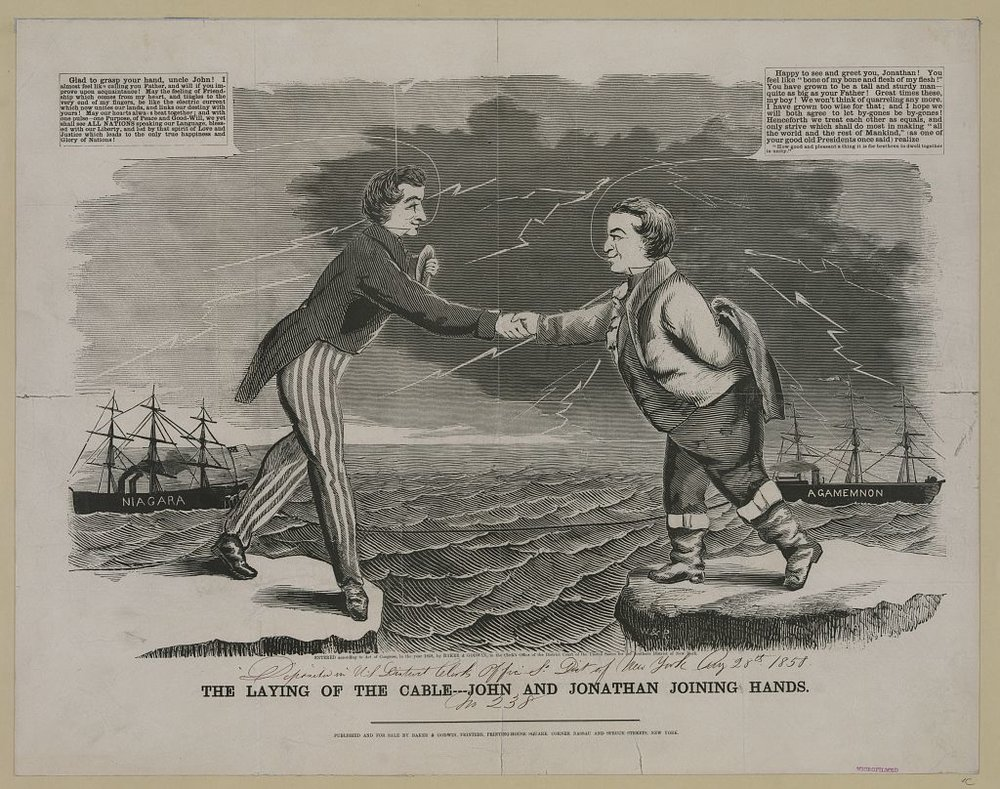 """The Laying of the Cable,"" which commemorates the completion of the first transatlantic telegraph line. Woodcut with letterpress, Baker & Godwin Printers, New York, circa 1858. Courtesy of the Library of Congress"