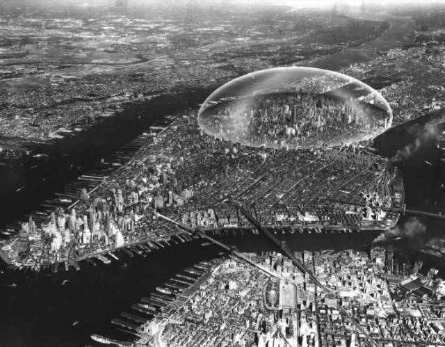 Buckminster Fuller and Shoji Sadao, plan for a geodesic dome to be placed over Midtown Manhattan, 1960