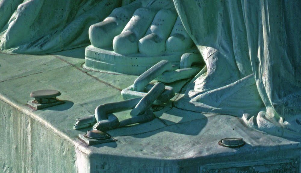 Foot of the Statue of Liberty. Image courtesy of National Park Service.