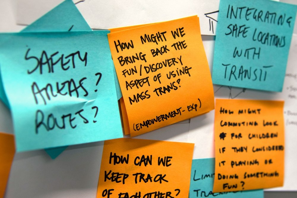 Identifying opportunity areas - In looking across our empathy journeys, we identified five big opportunity areas for public transit innovation: Ticketing, wayfinding, safety & supervision, accessibility and on-the-go productivity.