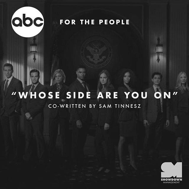 """""""Whose Side Are You On"""" co-written by @samtinnesz, is on promos for For The People. Link in our bio. 📺"""