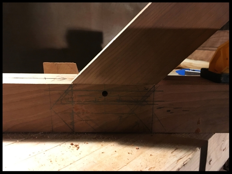 Angled Mortise and Tenon for the Hayrake Table Base.