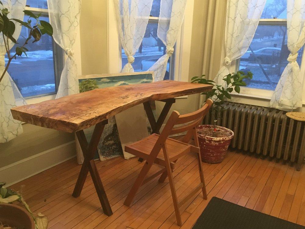 Live Edge Spalted Maple and Black Walnut Floating Desk